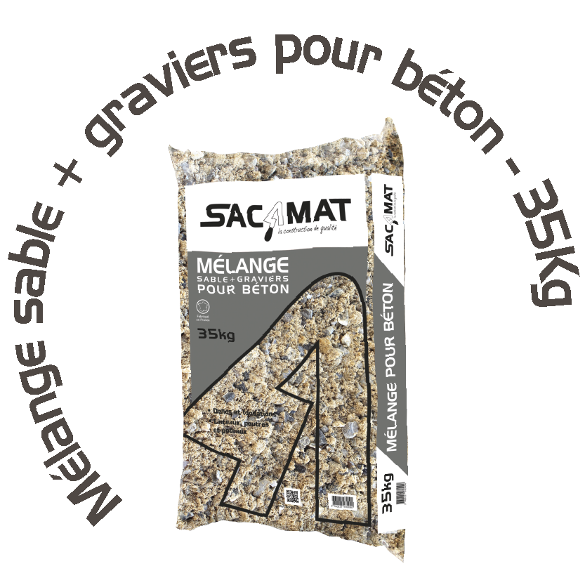 MÉLANGE SABLE + GRAVIERS POUR BÉTON – 35 KG