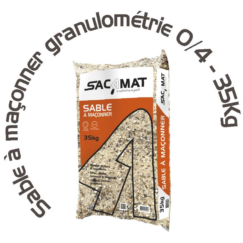 SABLE À MAÇONNER GRANULOMÉTRIE 0/4 – 35 KG